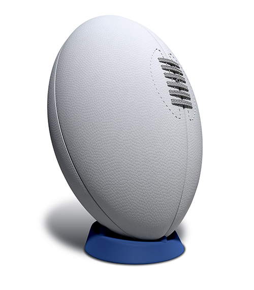 A rugby ball on white background.